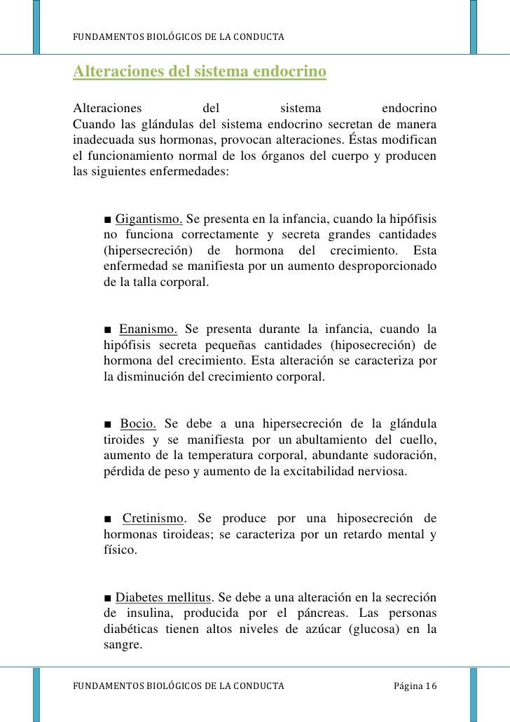FUNDAMENTOS BIOLÓGICOS DE LA CONDUCTAAlteraciones del sistema endocrinoAlteraciones           del         sistema         ...