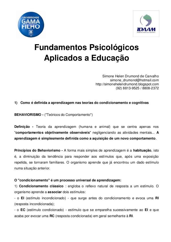 Fundamentos Psicológicos              Aplicados a Educação                                                      Simone Hel...