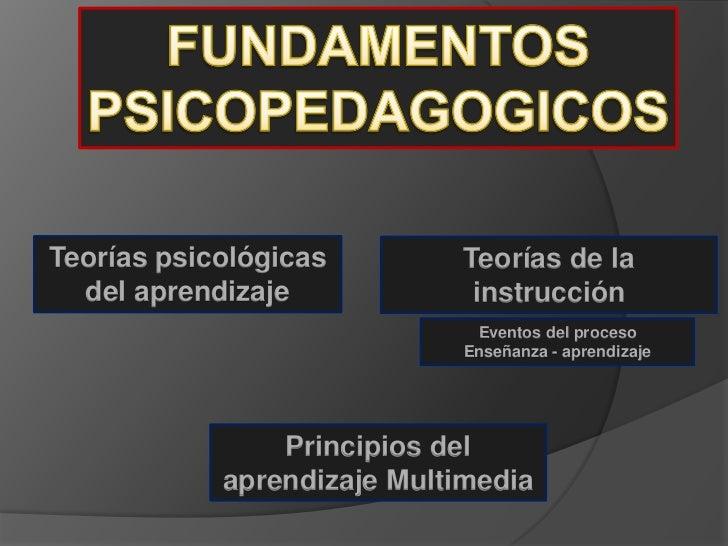 Teorías psicológicas         Teorías de la  del aprendizaje             instrucción                              Eventos d...