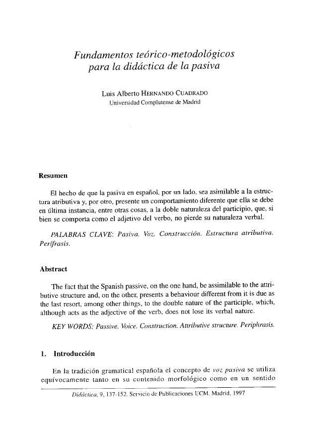 Fundamentos teóricos metodológicos para la didáctica de la pasiva (Gr…