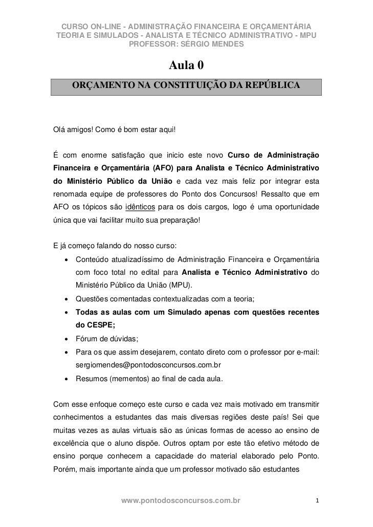 CURSO ON-LINE - ADMINISTRAÇÃO FINANCEIRA E ORÇAMENTÁRIATEORIA E SIMULADOS - ANALISTA E TÉCNICO ADMINISTRATIVO - MPU       ...