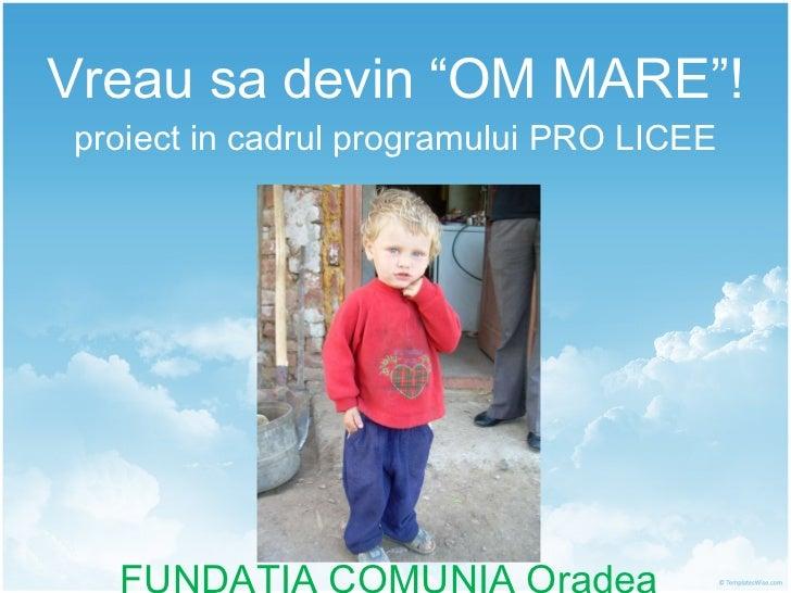 """Vreau sa devin """"OM MARE""""! proiect in cadrul programului PRO LICEE FUNDATIA COMUNIA Oradea"""