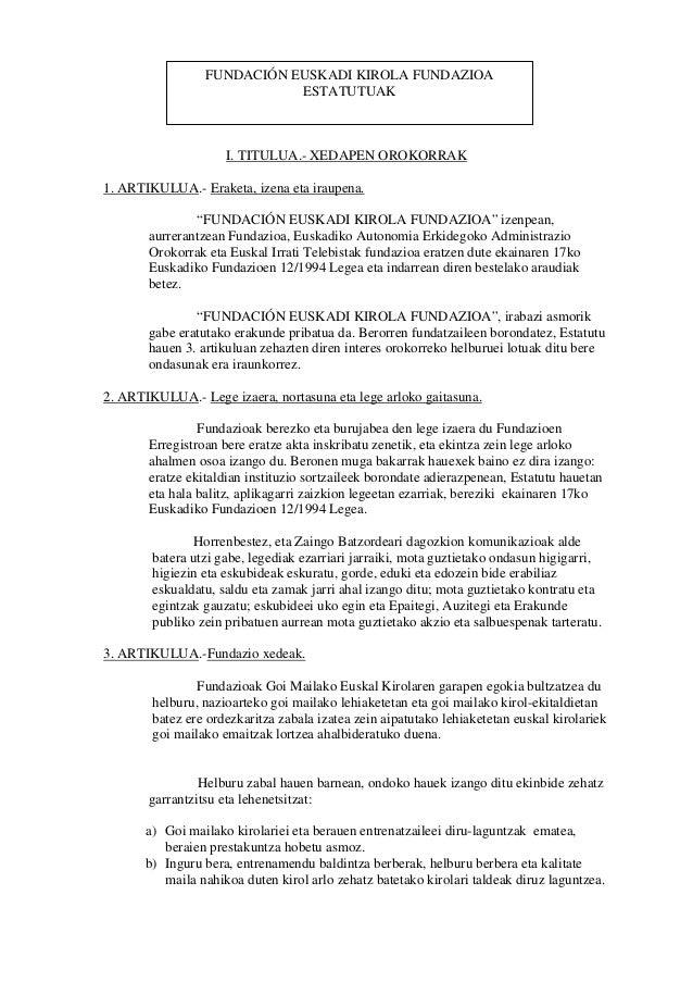 Fundacion Euskadik Kirola Fundazioko Estatutuak