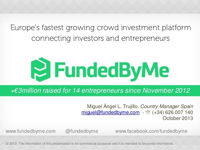 Europe's fastest growing crowd investment platform connecting investors and entrepreneurs  +€3million raised for 14 entrep...