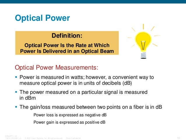 © 2007 Cisco Systems, Inc. All rights reserved. Cisco Confidential BRKOPT-1101 13814_05_2007_c1 10 Optical Power Optical P...