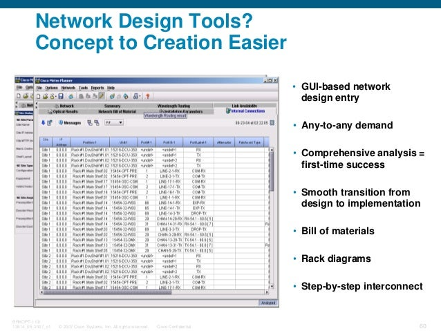 © 2007 Cisco Systems, Inc. All rights reserved. Cisco Confidential BRKOPT-1101 13814_05_2007_c1 60 • Rack diagrams • Step-...