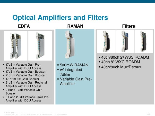 © 2007 Cisco Systems, Inc. All rights reserved. Cisco Confidential BRKOPT-1101 13814_05_2007_c1 68 Optical Amplifiers and ...