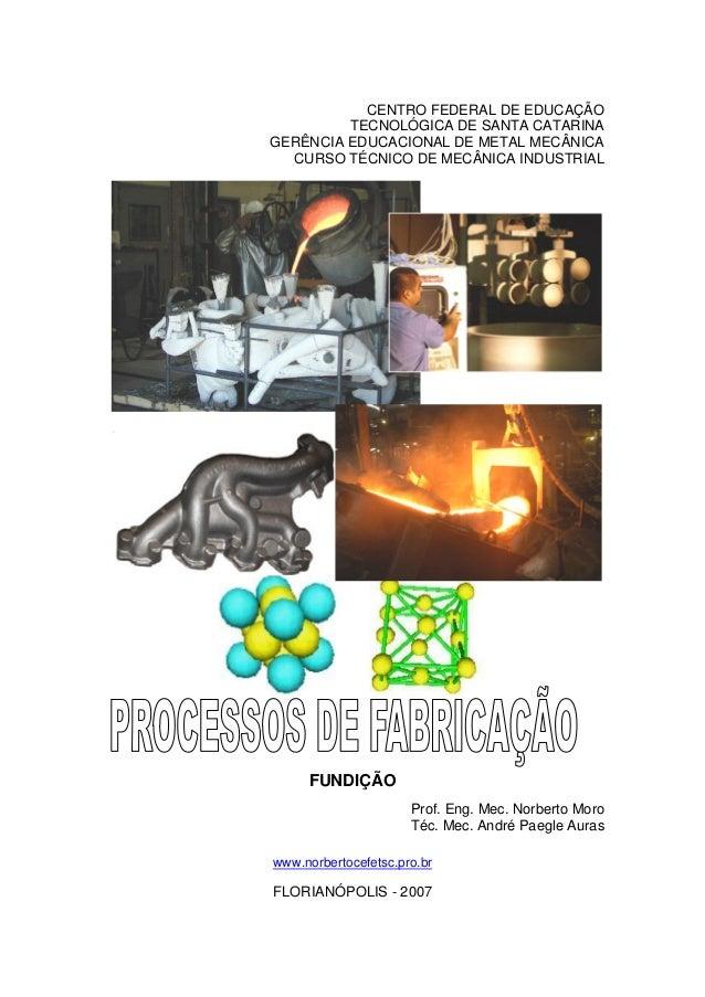 CENTRO FEDERAL DE EDUCAÇÃO TECNOLÓGICA DE SANTA CATARINA GERÊNCIA EDUCACIONAL DE METAL MECÂNICA CURSO TÉCNICO DE MECÂNICA ...