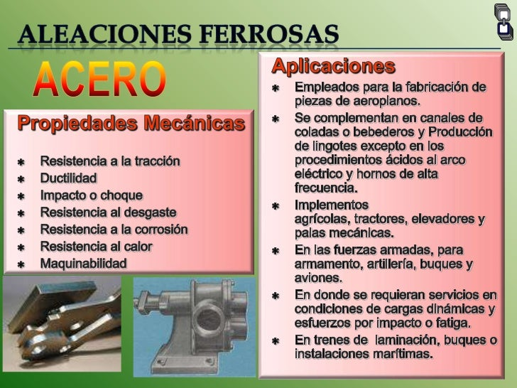 ALEACIONES FERROSAS<br />Aplicaciones<br /><ul><li>Empleados para la fabricación de piezas de aeroplanos.