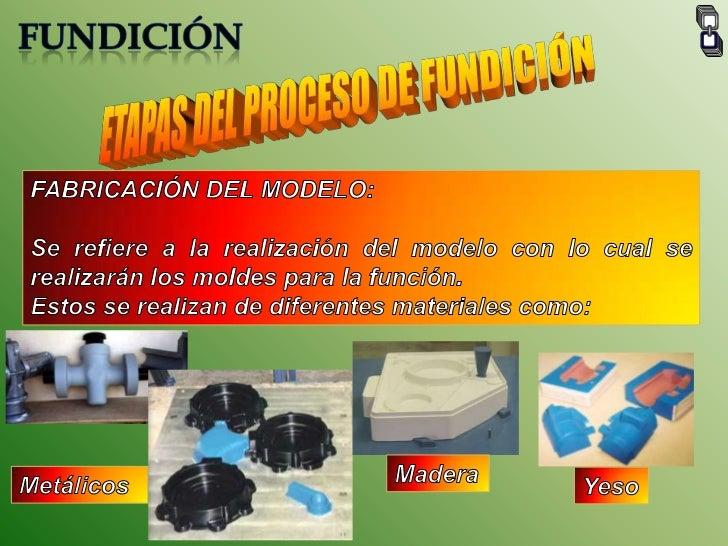 FUNDICIÓN<br />ETAPAS DEL PROCESO DE FUNDICIÓN<br />FABRICACIÓN DEL MODELO:<br />Se refiere a la realización del modelo co...