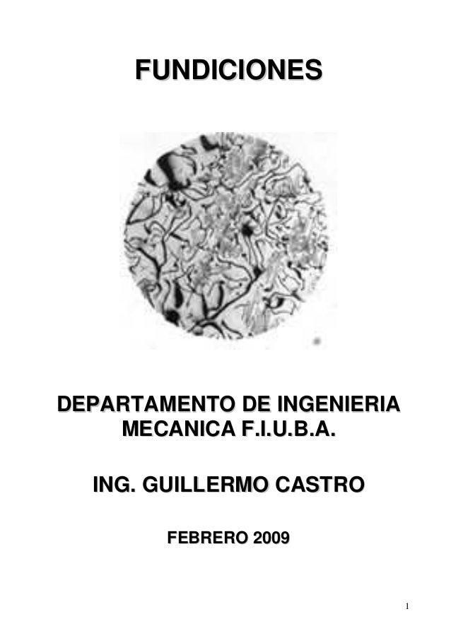 1  FUNDICIONES  DEPARTAMENTO DE INGENIERIA  MECANICA F.I.U.B.A.  ING. GUILLERMO CASTRO  FEBRERO 2009