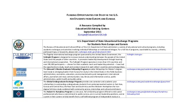 FUNDING OPPORTUNITIES FOR STUDY IN THE U.S.                                               FOR STUDENTS FROM EUROPE AND EUR...