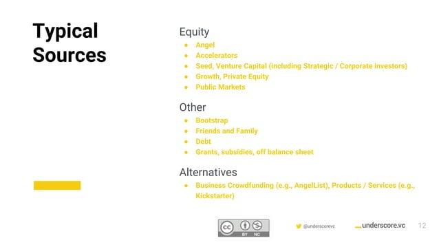 Confidential & Proprietary @underscorevc Equity ● Angel ● Accelerators ● Seed, Venture Capital (including Strategic / Corp...