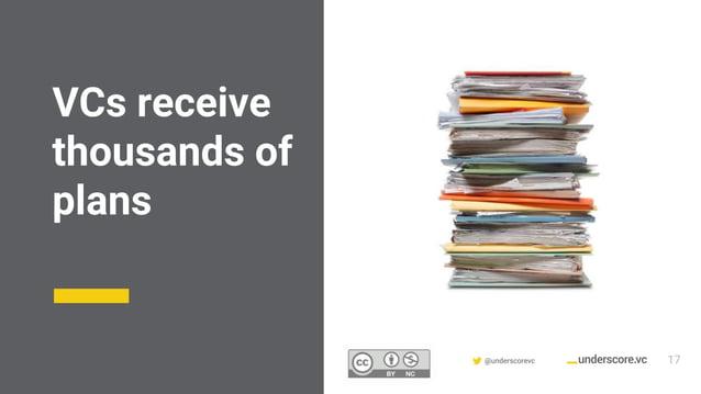 Confidential & Proprietary @underscorevc VCs receive thousands of plans 17