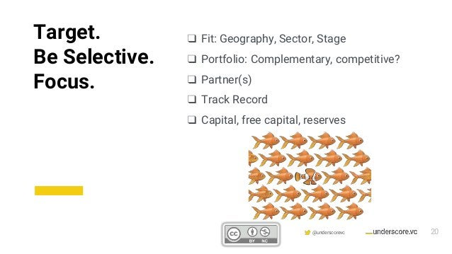 Confidential & Proprietary @underscorevc ❑ Fit: Geography, Sector, Stage ❑ Portfolio: Complementary, competitive? ❑ Partne...