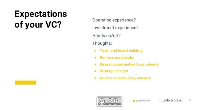 Confidential & Proprietary @underscorevc Operating experience? Investment experience? Hands on/off? Thoughts: ● Team and b...