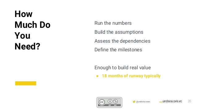 Confidential & Proprietary @underscorevc Run the numbers Build the assumptions Assess the dependencies Define the mileston...