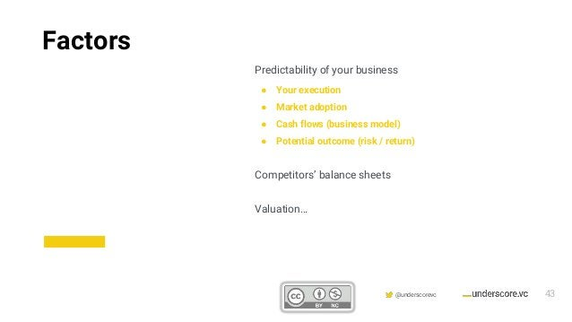 Confidential & Proprietary @underscorevc Predictability of your business ● Your execution ● Market adoption ● Cash flows (...