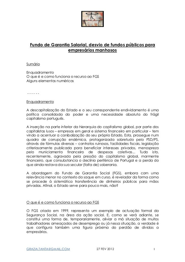 Fundo de Garantia Salarial, desvio de fundos públicos para                  empresários manhososSumárioEnquadramentoO que ...