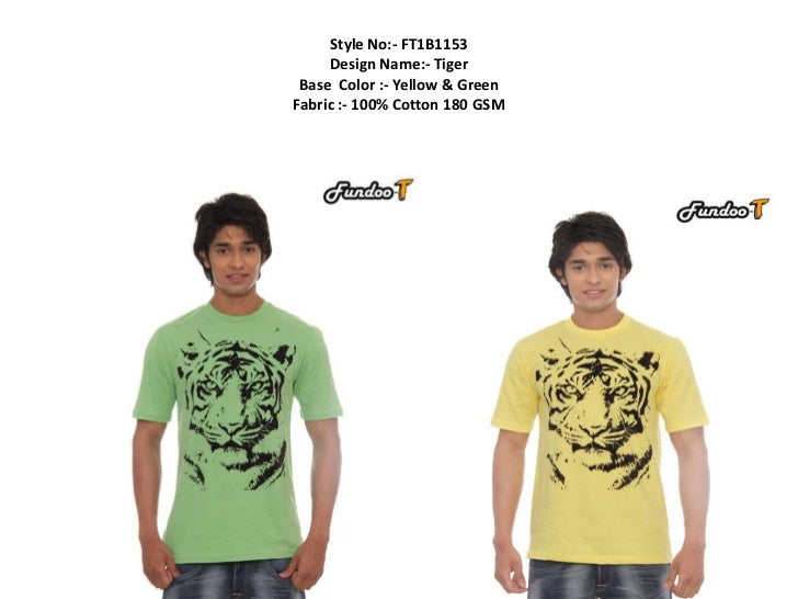 Style No:- FT1B1153     Design Name:- Tiger Base Color :- Yellow & GreenFabric :- 100% Cotton 180 GSM