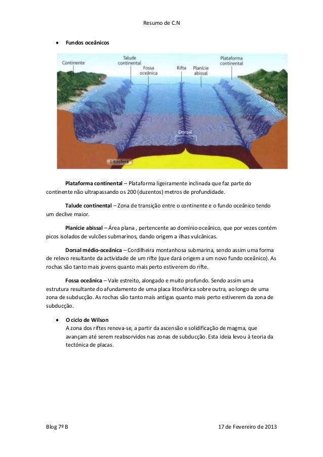 Resumo de C.N       Fundos oceânicos       Plataforma continental – Plataforma ligeiramente inclinada que faz parte docont...