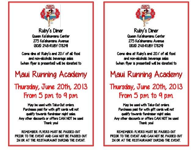 maui running academy fundraiser flyer