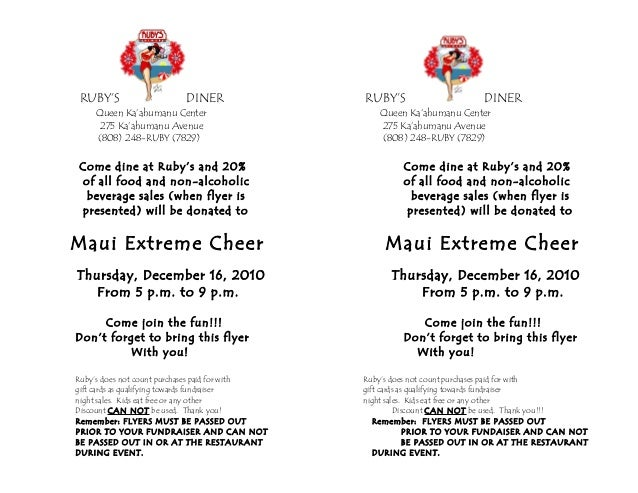 maui extreme cheer fundraiser flyer