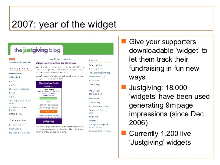 2007: year of the widget <ul><li>Give your supporters  downloadable 'widget' to let them track their fundraising in fun ne...