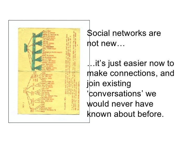 Social networks are not new… … it's just easier now to make connections, and join existing 'conversations' we would never ...
