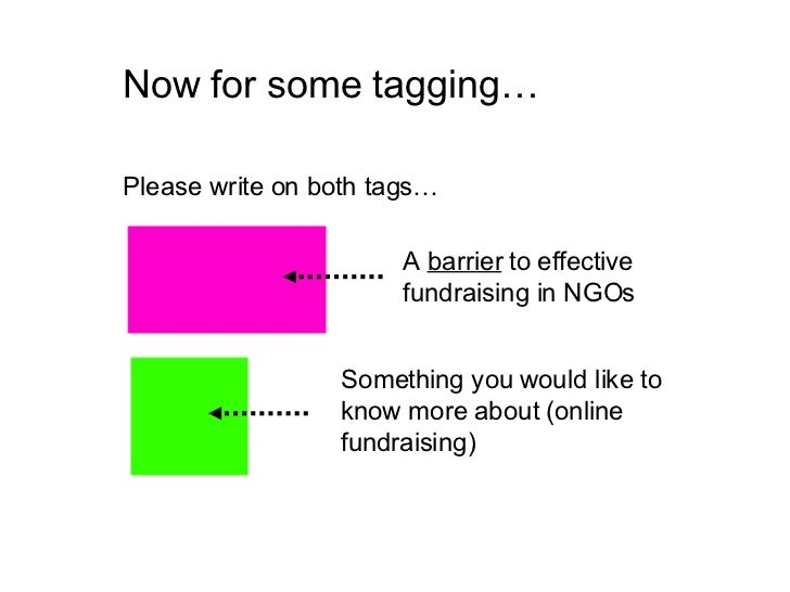 Now for some tagging… Please write on both tags… A  barrier  to effective fundraising in NGOs Something you would like to ...