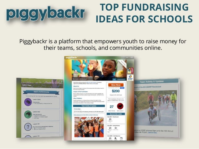 Piggybackr is a platform that empowers youth to raise money for their teams, schools, and communities online. TOP FUNDRAIS...