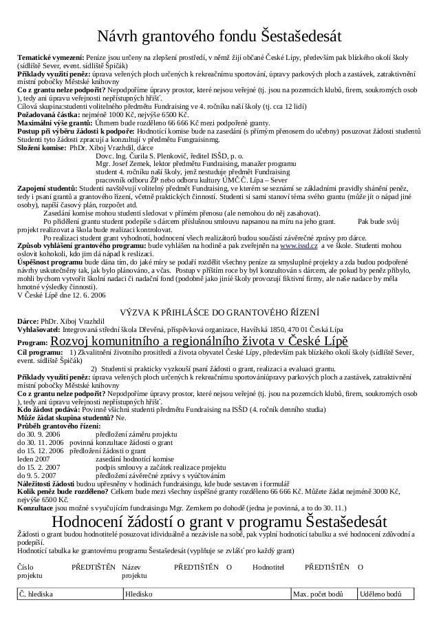 Návrh grantového fondu Šestašedesát Tematické vymezení: Peníze jsou určeny na zlepšení prostředí, v němž žijí občané České...