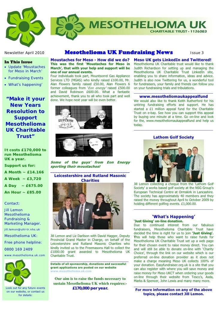 Newsletter April 2010                     Mesothelioma UK Fundraising News                                                ...