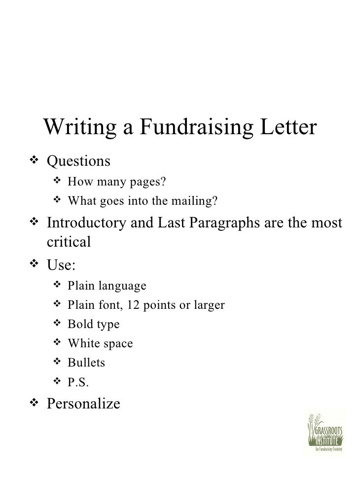 30 writing a fundraising letter