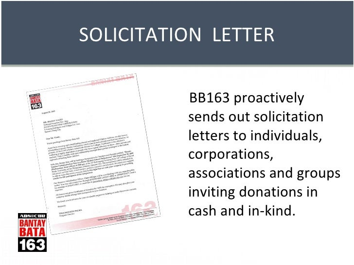 donation box cans 11 bb163 proactively sends out solicitation letters