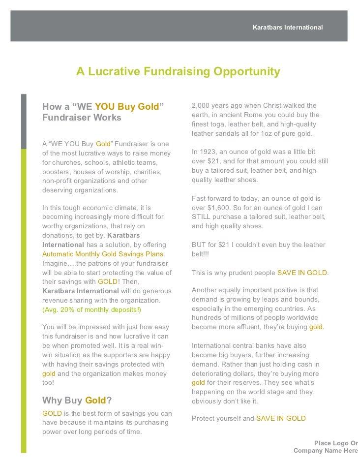karatbars fundraising proposal