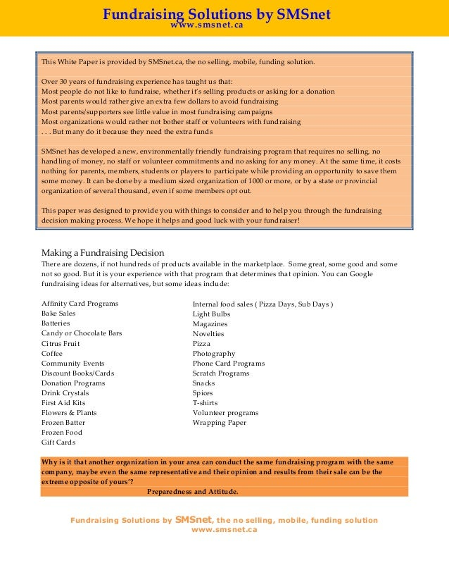 Fundraising Solutions by SMSnet                                        www.sm snet.caThis White Paper is provided by SMSne...