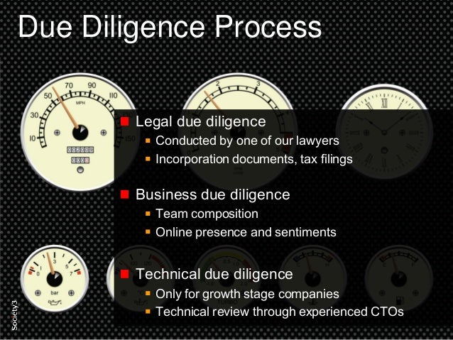 11© Copyright Society3 2015 Copying or distribution is prohibited #Society3 Due Diligence Process Legal due diligence Cond...
