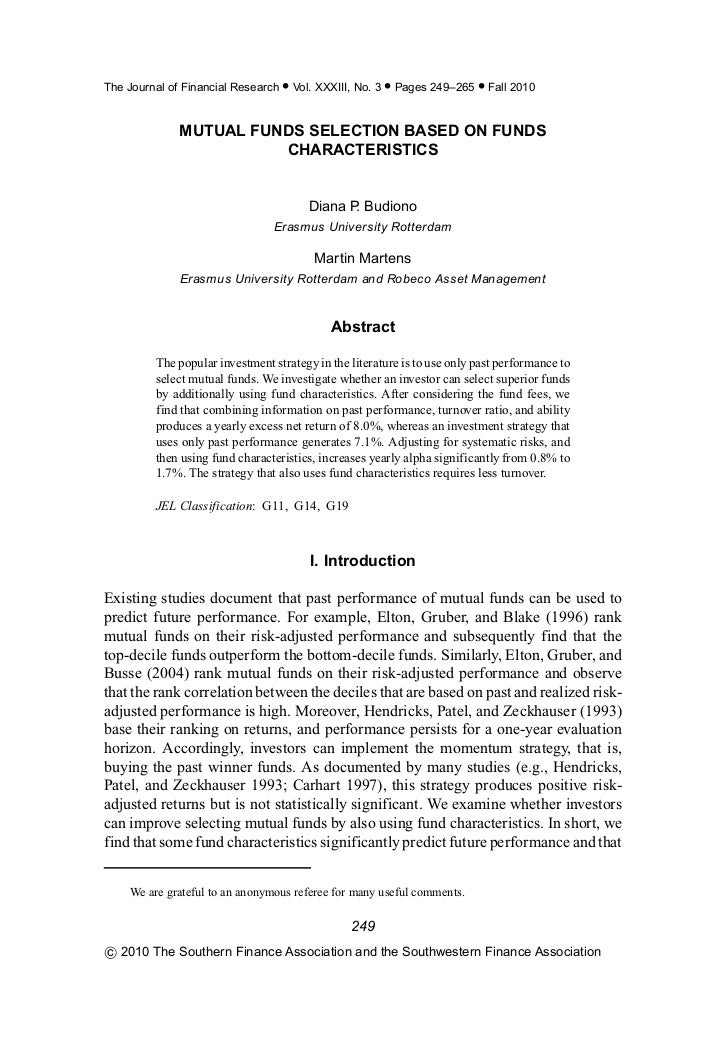 The Journal of Financial Research • Vol. XXXIII, No. 3 • Pages 249–265 • Fall 2010              MUTUAL FUNDS SELECTION BAS...