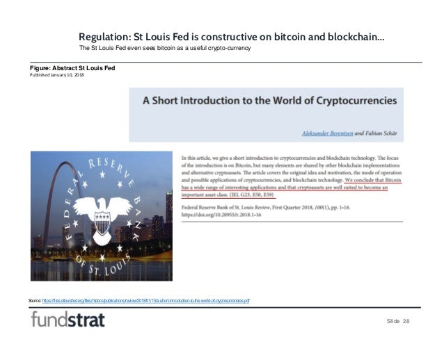 Slide 28 Regulation: St Louis Fed is constructive on bitcoin and blockchain… Source: https://files.stlouisfed.org/files/ht...