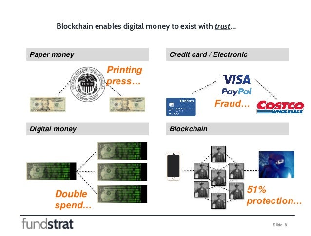 Slide 8 Blockchain enables digital money to exist with trust… Paper money Credit card / Electronic Digital money Blockchai...