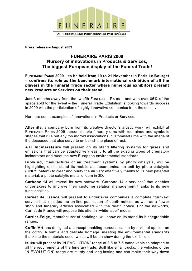 Press release – August 2009                         FUNERAIRE PARIS 2009             Nursery of innovations in Products & ...