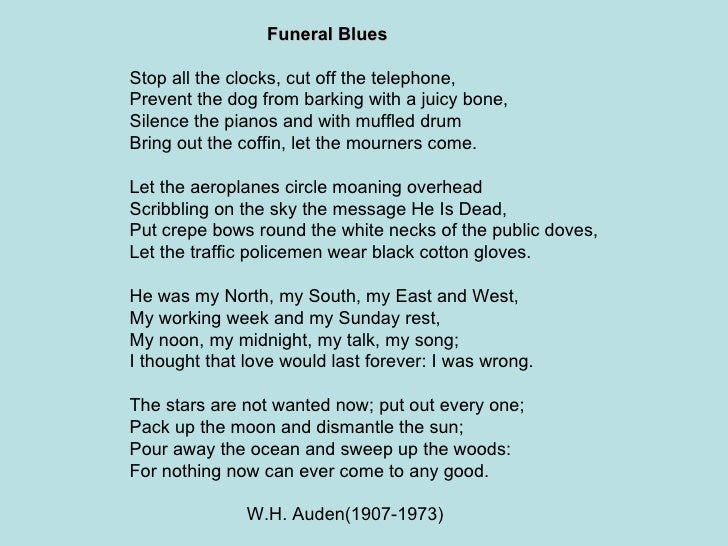 essay on funneral blues