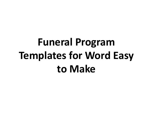 SlideShare  Printable Funeral Program Templates