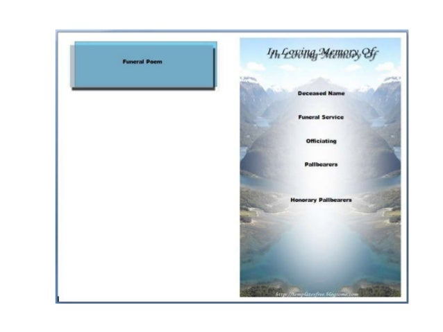 Free Printable Funeral Program Template for Word to Download – Free Printable Obituary Program Template