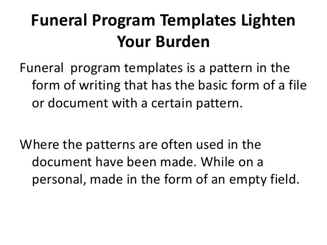 Free Printable Funeral Program Template for Word to Download – Program Templates Word