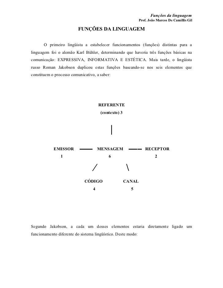 Funções da linguagem                                                               Prof. João Marcos De Camillis Gil      ...