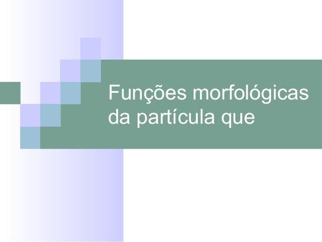 Funções morfológicas da partícula que