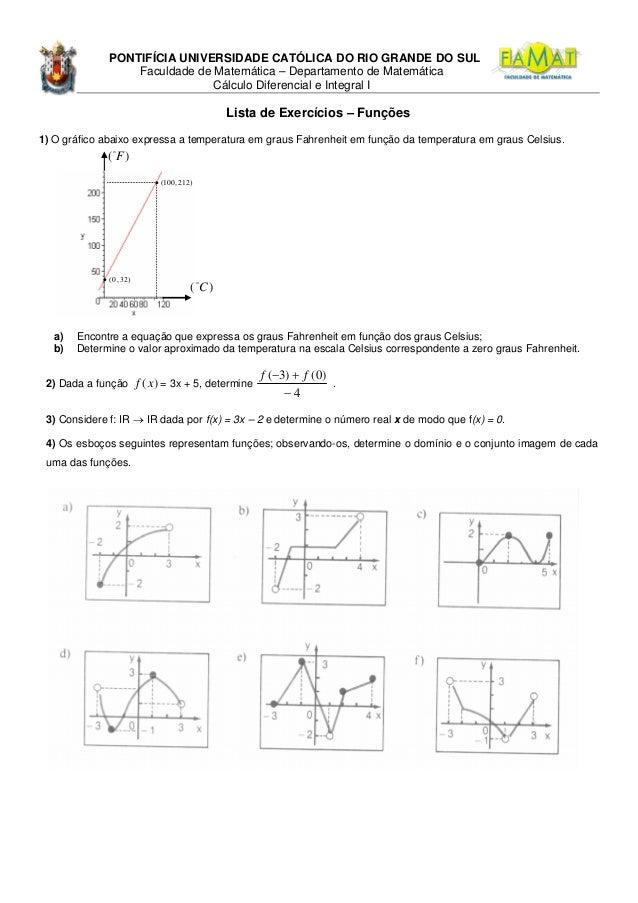 PONTIFÍCIA UNIVERSIDADE CATÓLICA DO RIO GRANDE DO SUL Faculdade de Matemática – Departamento de Matemática Cálculo Diferen...