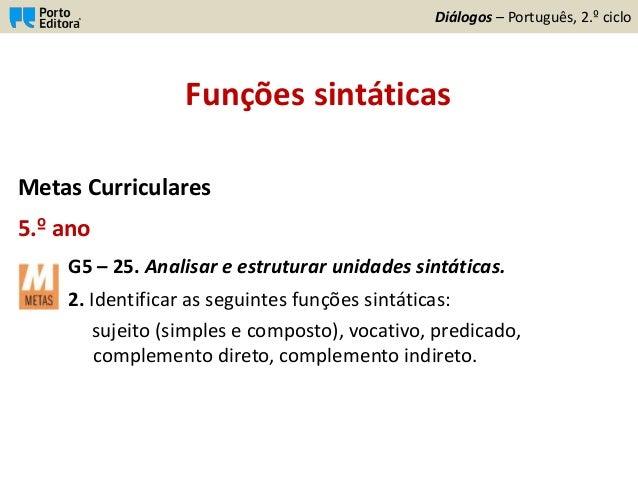 Funções sintáticas Metas Curriculares 5.º ano G5 – 25. Analisar e estruturar unidades sintáticas. 2. Identificar as seguin...